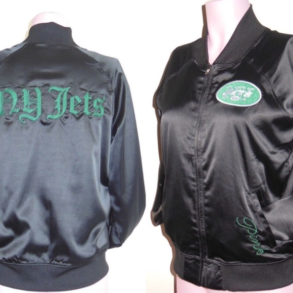 buy popular f194d 6d3e1 VS PINK New York Jets Embroidered Varsity Jacket NWT